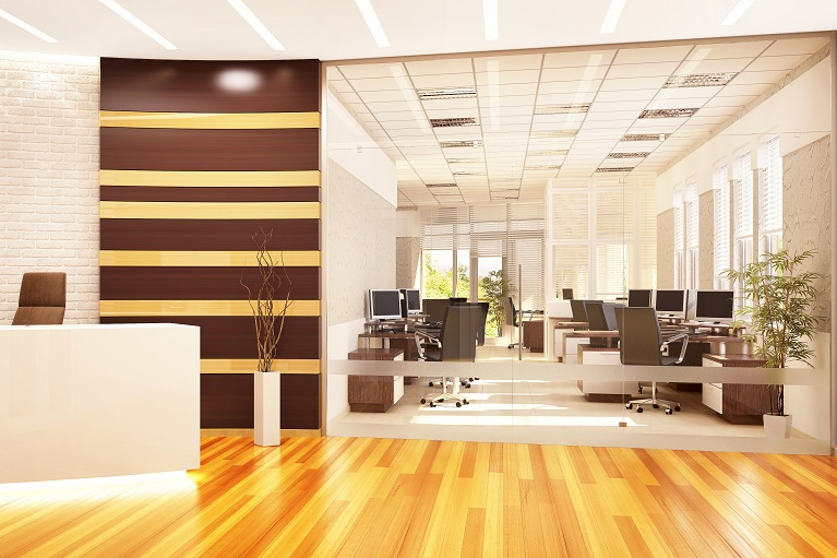 Modern open office with reception and glass partition
